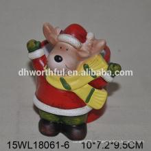 Reno de Navidad en forma de florero de cerámica