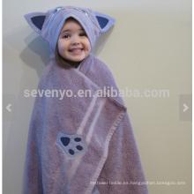 Toalla con capucha de gato púrpura, 100% algodón, súper suave y absorbente