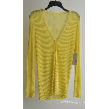 Ladies V-Neck Cardigan Pure Color Knitwear with Button