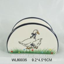 Ceramic napkin holder with duck