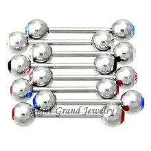 Anneaux de perçage de langue de boule de cristal de double de presse de 5mm