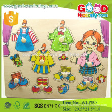 wholesale and OEM diy fashion pretty girl wooden dress puzzle