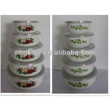 enamel storage bowl sets with PP lid 5pcs enamel storage bowl sets with PP lid