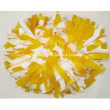 Wet Look POM POM: Gelb Mix Weiß