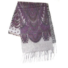 100%Lambswool Double Sides Printed Scarf Paisley/Leopard