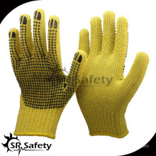 SRSafety 7G seamless knitted aramid fibre liner safety glove with dot pvc