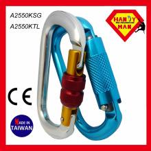 O geformte nützliche Twist Lock Aluminium Klettern Karabiner Made in Taiwan