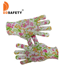 Flower Cotton /Polyester Knit Knitted Garden Work Gloves with PVC Dots, Gripper DOT Gloves