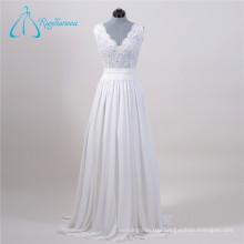 2017 Chiffon Tulle Crystal Pearls Wedding Dress Custom Made