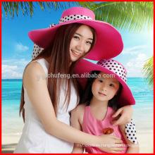 Gorra Derby de mujer nueva, ancha, ala ancha, pliegue, pliegue, playa de verano, sombrero de sol de playa para padres e hijos