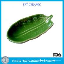 Зеленый Форма Листьев Керамических Блюдо Пластина