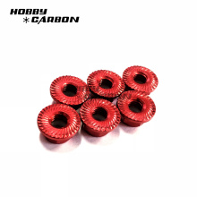Kundengebundene M6 gezahnte Flanschsicherungsmutter rote Nuss für rc Spielzeug