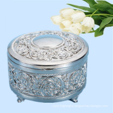 Chrome Plated Round Shape Metal Jewelry Packing Box