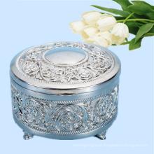 Cromado caixa de embalagem de jóias de metal em forma redonda