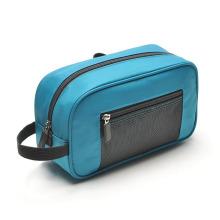 Bolsa de toalete para lavagem cosmética fashion Blue Nylon Clutch (YKY7516)
