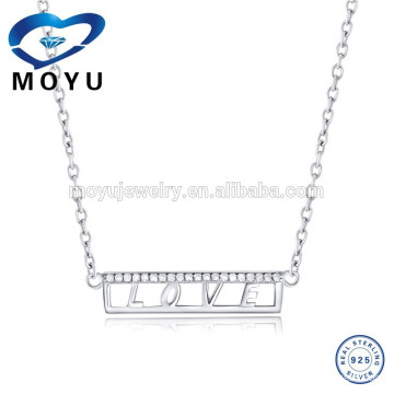 925 Sterling Silver Letter Love Pendant Necklace Charms