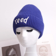 New Trend Stylish Couple Letter Embroidery Logo Women Men Winter Warm Beanie Knitted Hat