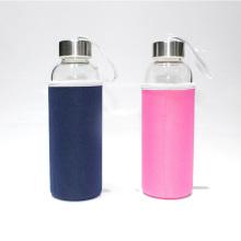 500ml Glass Water Bottle Sports Travel Bottles Stainless Steel Lid with Neoprene