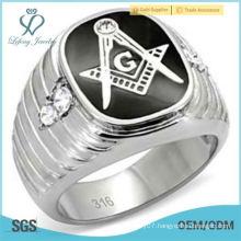 Men's Stainless Steel Onyx & Cubic Zirconia Masonic Ring