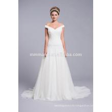 2015 V neck elegant off shoulder wedding party dresses