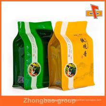 Zip superior personalizado impressão bloco fundo saco para o chá de embalagem