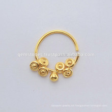 925 Sterling Silver Nose Ring Joyería, hecho a mano Septum nariz Anillo Gold Plated Body Jewelry proveedores
