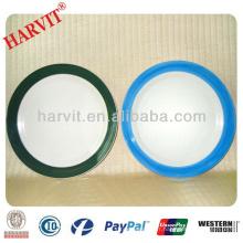 """10.5 """"Casseroles / Céramique Plaques turques peintes à la main / Brosse artisanale Craft Bleu et Gree Color Rim Edge Dishes Plates"""