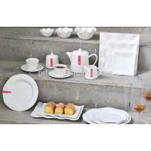 P & T porcelana fábrica praça dinnerware placa, cerâmica branca, conjuntos de dinnerware
