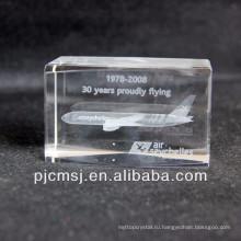 3D Кристалл модель самолета как сувенир или подарки лазер гравирует