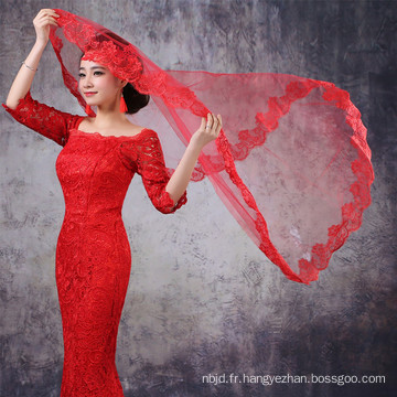 Alibaba Red White Tulle Lace Wedding Veils À Guangzhou 2017