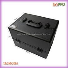 Boîte de cils sur mesure grande surface ABS noir avec miroir (SACMC065)