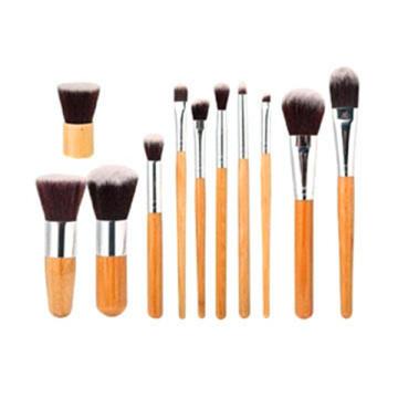 11PCS bambu lidar com escova de maquiagem conjunto com um saco de escova