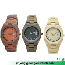Montre de calendrier de montre en bois de production importante d'OEM