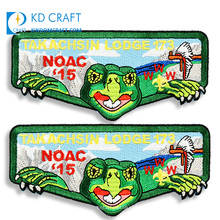 Wholesale high quality broderie garment woven badge sticker caoutchouc embroidery logo custom crocodile patch for shirt