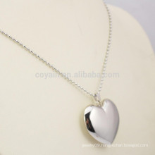Shiny Silver Plated Stainless Steel 3D Blank Chunky Heart Necklace