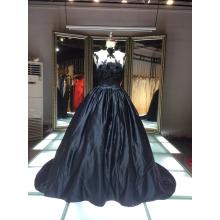 1A137 Glamourpuss Tentación De Negro Noche Puffy Vestido Bare Back Corsé Flor Vestidos De Noche 2016