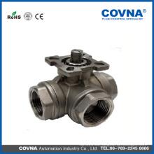 Válvula de bola de 3 vías con el cojín de montaje Tipo de L / T Con el cojín de montaje ISO5211 Material de SS304 DN15 válvula de la bola de la media pulgada con buena calidad