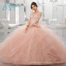 Crystal Cascading Ruffle manga larga vestido de fiesta Quinceanera vestido