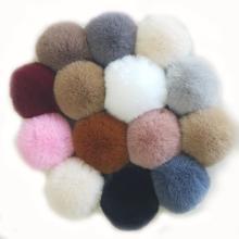 Bola de pompón cómoda de piel de conejo de imitación colorida