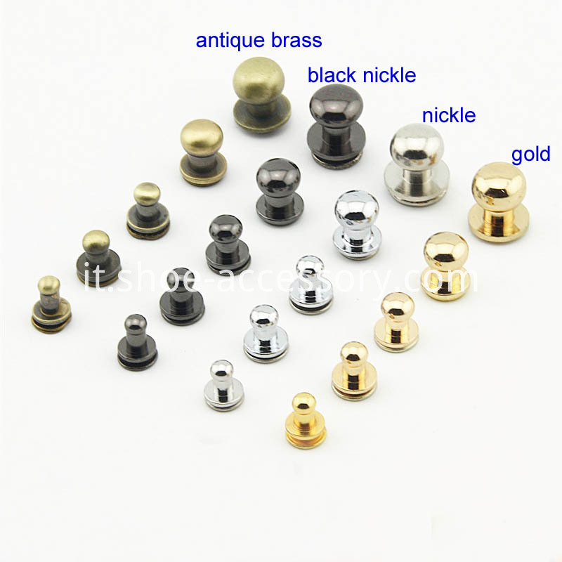 antique brass plated joining screws studs