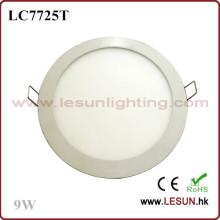 Brillo 9W LED redondo Panel luces / luz plana LC7725t