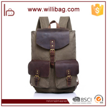 Tendência estilo coreano Genuine Leather Bags Mens Backpack