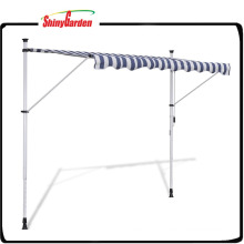 """9' 10"""" Manually-operated Blue/White Waterproof Retractable Awning"""