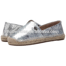 Jute Sole Espadrille Women 2016 Fashion Silver Espadrilles Casual Flat Shoes
