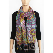 100%Rayon Printed Scarf with fringe