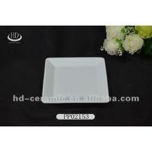 Weiße quadratische keramische Platte, keramische Platte für Hotel, flache Felge keramische Platte