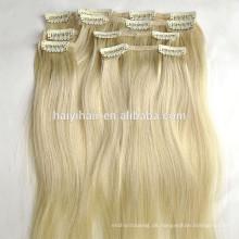 Großhandelspreis Remy Russische Menschenhaarverlängerung Blonde Farbe Clip in Menschenhaarverlängerungen