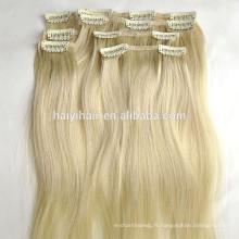 Prix de gros Remy Russe Extension de Cheveux Humains Blond Couleur Clip en Extensions de Cheveux Humains