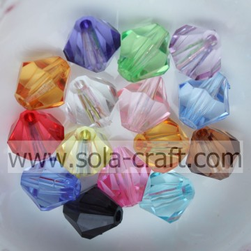 Different Size and Mixed Color Lucite Bicone Transparent Acrylic Beads Spacer