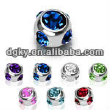14GA Pink CZ 316L S.Steel 6mm 7-Gem Paved Threaded Replacement Ball